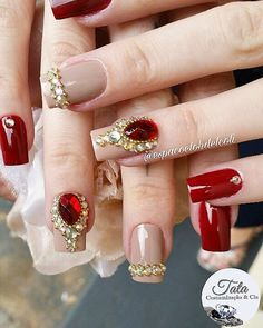 Red Acrylic Nails, Stiletto Nail Art, Red Nails, Elegant Nails, Stylish Nails, Glam Nails, Bling Nails, Stone Nail Art, Nails Design With Rhinestones
