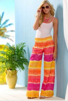 Check out these groovy tie-dye style pants. They're the perfect piece to pack for vacation!