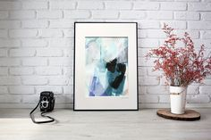 Original abstract painting on paper, matted and framed