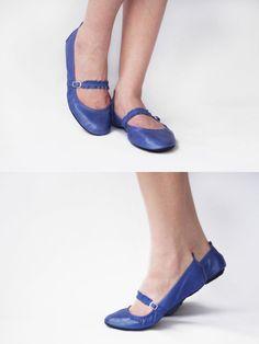Mary Janes - Kite Blue - Handmade Leather Ballet flats - CUSTOM FIT