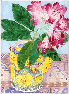 Rhododendron and yellow teapot  Watercolour and pencil on paper  24cm x 39cm Sydney 2012 For sale as prints and cards