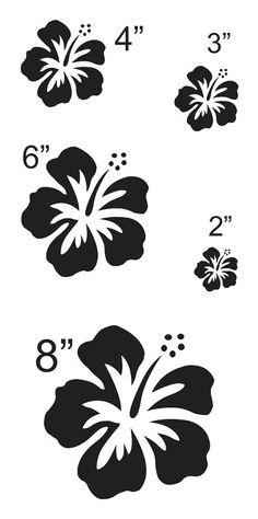 Hoja de Hibiscus flor 3 plantilla con 5 total  por OaklandStencil                                                                                                                                                                                 Más