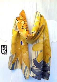 Hand painted silk scarf. Golden Yellow Garbera Daisies Silk Scarf. Silk Scarves Takuyo. Silk Satin Scarf. Approx 10x56 in.. $158.00, via Etsy.