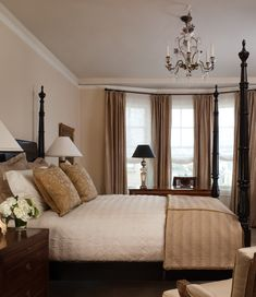 Beautiful Neutral Bedroom Ideas for Couples: Traditional Bedroom Interior Decorated With Brown Neutral Bedroom Ideas Involving Four Post Bed...