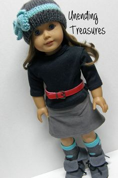American Girl doll clothes, 18 inch doll clothes, gray skirt, red belt, gray hat, and knee-hi socks, black shirt*