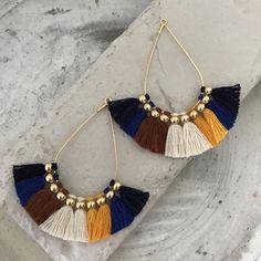 Tassel earrings Boho bohemian earrings clip on earrings hypoallergenic earrings colorful chunky large earrings clip ons drop earrings Boho bohemian fringe earrings tassel earrings embroideryblue Tassel Jewelry, Fabric Jewelry, Diy Jewelry, Jewelry Accessories, Jewelry Design, Fashion Jewelry, Jewelry Making, Jewellery, Ethnic Jewelry