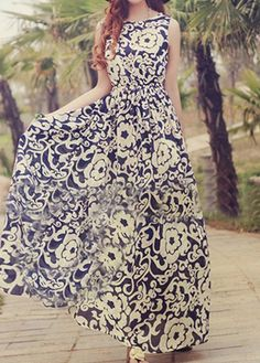 Vintage Pretty Round Neck Sleeveless Printed Dress For Lady