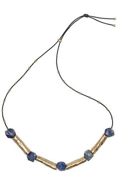 Julie Cohn Design: Relic Necklace. Bronze cocoon beads with blue druzy agate beads on black leather cord - 26 inches.
