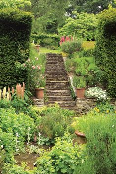 romantic English gardens beg you to wander off and explore their lush, green landscape. We can't think of a more wonderful way to lose track of an afternoon. Green Landscape, Landscape Design, Garden Design, Landscape Steps, Garden Cottage, Home And Garden, Manor Garden, Garden Paths, Garden Landscaping