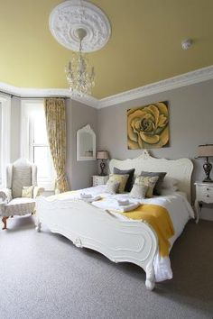 Photos of Brindleys Boutique Bed & Breakfast Hotel, Bath - Bed and Breakfast Images - TripAdvisor Furniture, Painted Ceiling, Grey Bedroom Design, Home, Home Bedroom, Bed And Breakfast, Remodel Bedroom, Yellow Bedroom, Bedroom