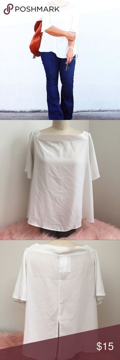 Boohoo off the shoulder sheer top white bell Sheer off the shoulder boohoo top in white. Great condition. Perfect for summer. This is a U.K. Size so it runs small! Boohoo Tops Blouses