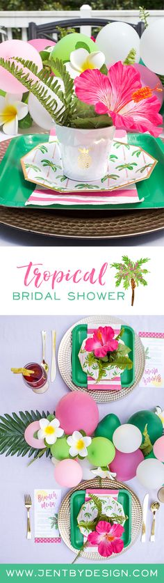 Tropical Bridal Shower Ideas - Palm Trees and Paradise Brunch