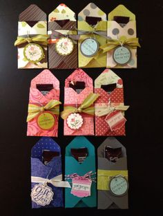 Used the Envelope Punch Board to make some treat bags. Great way to use your old and retired Stampin' Up! DSP.