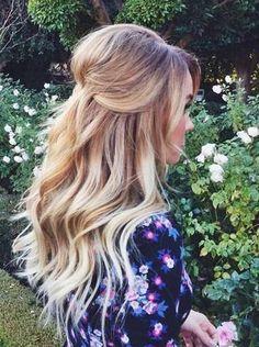 Teased Crown & Soft Curls Half Updo