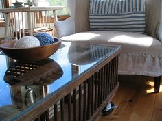 Coffee table made from a chicken crate.  Found @ http://homespunliving.blogspot.com