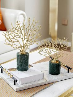 Modern Home Accessories Copper Gold Coral Ornaments Model Room Living Room Marble Crafts Decorations