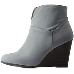 Charlotte Russe Gray Single Sole Wooden Wedge Booties by Charlotte... (€29) ❤ liked on Polyvore featuring shoes, boots, ankle booties, grey, grey wedge booties, western ankle boots, wedge boots, ankle boots and wedge bootie