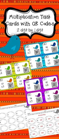 Are your students working on multiplication? This set of task cards will help your students become more fluent in multiplication. There are 12 task cards (also sold in a bundle) with QR codes that can be used in math centers or as a read the room activity. This set comes with 12 task cards with QR codes, a recording sheet and an answer key.