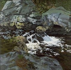Cascade, huile sur toile de Neil Gavin Welliver (1929-2005, United States)