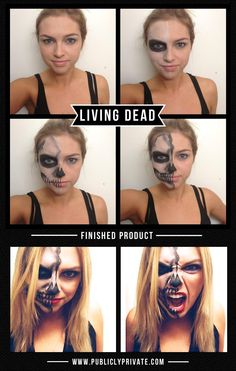 Best Halloween Costumes and DIY Makeup Living Dead Half Skeleton