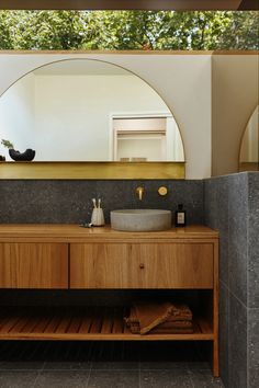 This Home Was Made More Spacious—Without Changing the Original Footprint | Architectural Digest Wood Bathroom, Bathroom Interior, Modern Bathroom, Master Bathroom, Bathroom Cabinets, Bathroom Vanities, Pop And Scott, Counter Design, Custom Mirrors