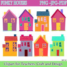 Clip Art Clipart Houses my community buildings clipart by poppydreamz from funky houses house digital instant download png format 300 dpi high