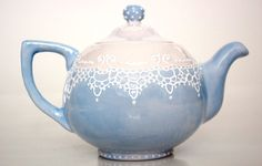 Victorian teapot handpainted with lace dotting by Dprintsclayful, $85.00