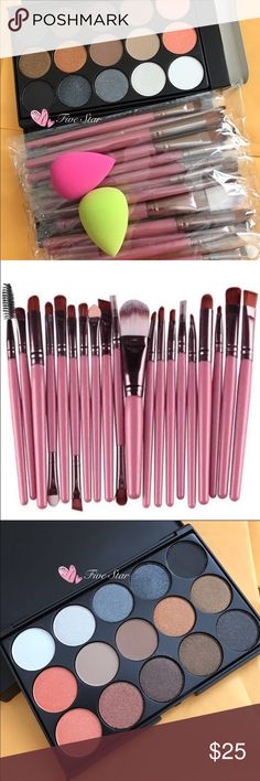 New Bundle Makeup Set New 20pcs Makeup Brushes Set and 15 Colors Eyeshadow Palette and 2Sponges Makeup Eyeshadow