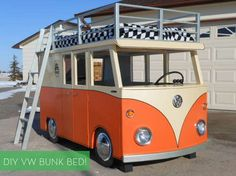 SO COOL: how to make a VW Bus-inspired bunk bed and playhouse! #DIY