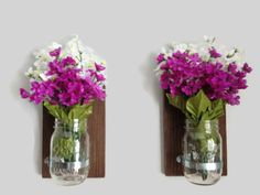Set of TWO Rustic Mason Jar Wall Sconces by DunnRusticDesigns, $34.00