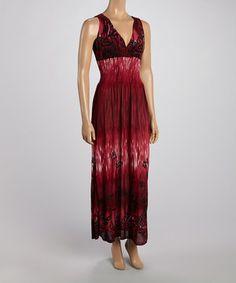Look at this #zulilyfind! Burgundy Tropics Crocheted Back Maxi Dress by India Batik #zulilyfinds