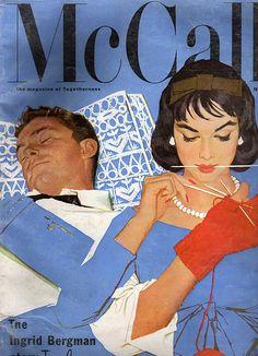 Illustrator Al Parker. Vintage. Knitting!