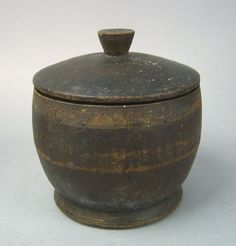 New England Treen Canister.  Ahand made  household objects made of wood:species were close-grained native hardwoods: box, beech, sycamore and at times lignum vitae for mallet heads. Made most often by turning and hand carving.