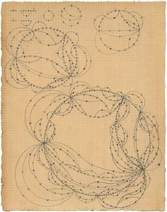 Recursive Network – Owen Schuh uses mathematical procedures, sometimes with the aid of a calculator as well as bespoke drawing machines, to generate emergent drawings which evoke computational and natural system visualisations.