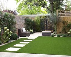 Like the pavers - but probably need bigger garden for that. The planting with white stones looks good too. Easygrass company