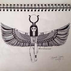 Undergoing Tattoo Idea Zentangle drawing of Isis. Ankh Tattoo, Osiris Tattoo, Sternum Tattoo, Forearm Tattoos, Tattoo Wings, Bicep Tattoo, Egyptian Goddess Tattoo, Isis Goddess, Egyptian Symbols
