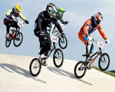 Men's BMX Cycling Dutch cyclist Raymond van der Biezen (R) competes during the Cycling BMX Men Quarterfinals at the London 2012 Olympic Games BMX cycling competition, in London, on Aug. 9 2012.