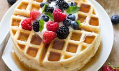 (Note: Sub sugar with honey) Crispy on the outside and soft on the inside, these Greek yogurt waffles can be made in less 30 minutes with delicious tangy flavor and plenty of protein.