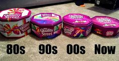 This photograph shows how the confectionery giant has slimmed down tubs of Quality Street three times since The tin is now less than half the size it was ten years ago – when it weighed Old Sweets, Vintage Sweets, Retro Sweets, 1970s Childhood, My Childhood Memories, Sweet Memories, Childhood Toys, Quality Street, Christmas Treats