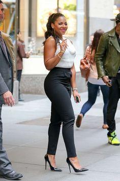 White Blouse, Black Pants, w/Shoes.