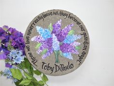 LILAC MEMORIAL STONE, Wedding Gift, Personalized Garden Stone, Lilac Flowers, Hand Painted Lilacs, Painted Lilac Flowers, Memorial Gift by samdesigns22 on Etsy Personalized Garden Stones, Personalized Wedding Gifts, Painted Stepping Stones, Painted Rocks, Lilac Flowers, Gift Flowers, Flowers Garden, Memorial Garden Stones, Bereavement Gift