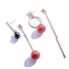 c7ceef5d4 New Fashion Women Long Tassel Silver Dangle Earring Asymmetrical Circle  Cloth Ball Pendant Eardrop 1 Pair (Red)