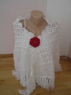 White color shawl/Crochet  white shawl/scarf by redrosewholesaler, $69.90