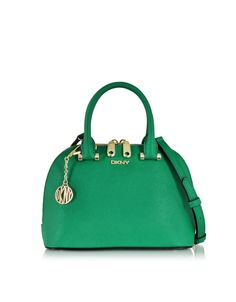 DKNY Bryant Park Grass Green Saffiano Leather Mini Round Crossbody Bag at FORZIERI