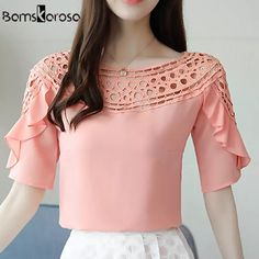 Womens Tops And Blouses Pink Blue White Women Summer Blouse Hollow Out Ruffles Short Sleeve Plus Size Shirt blusa blanca blusas Plus Size Shirts, T Shirt Sewing Pattern, Lace Tee, Ruffle Shorts, Summer Blouses, Women Sleeve, White Women, Chiffon Tops, Shirt Blouses