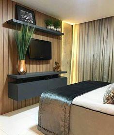 Tv In Bedroom, Modern Bedroom Design, Master Bedroom Design, Bedroom Decor, Teen Girl Bedrooms, Furniture Design, Grey Furniture, House Design, Interior Design