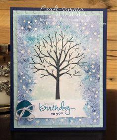 Breelin Renwick: Craft-somnia Momma: Wintery Birthday Wishes - 1/23/145.  (SU/ 2015 Occ: Sheltering Tree Endless Birthday Wishes stamps).  (Pin#1: Background: Emboss +.  Pin+: Nature: Trees). (background: ink + round stipple brush?)