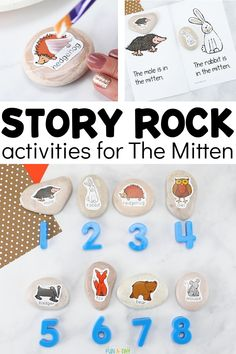 A whole list of creative activities to do with story rocks that are themed after the popular book The Mitten! Get your free printable story stones and then have a blast using them to learn in these hands-on activities. Preschool Lesson Plans, Preschool Books, Free Preschool, Preschool Activities, Preschool Printables, Creative Activities, Hands On Activities, Winter Activities, Learning Through Play