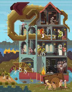 "Scene #8: ""Close the gates!"". Pixel Art Illustration by Octavi Navarro. 2014. http://www.pixelshuh.com/"