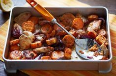 Be sure to impress your dinner guests with this Lemony chicken and sweet potato traybake recipe. Find out how, as well as view hundreds of other recipes at Tesco Real Food today! Sweet Potato Recipes, Healthy Chicken Recipes, Cooking Recipes, Chicken Tray Bake Recipes, Tasty Meals, Chicken Meals, Healthy Dinners, Vegetarian Recipes, Tesco Real Food